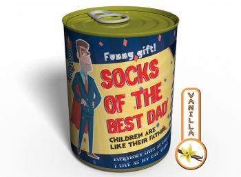 Canned Gifts - Best Dad Socks Gag Gifts for Dad - 1 Pair Quality Black Warm Man Cotton Socks - Fun Father's Day Gift Idea - Funny Quirky Useful Gifts and Present for Dad for Christmas and Birthday