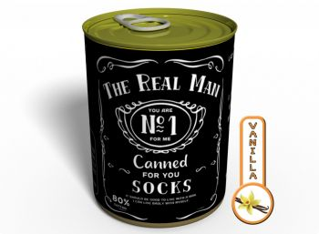 Canned Gifts - 2 Pair Quality All Seasons Black Cotton Socks - The Real Man Funny Hilarious Gag Items Gifts for Guy - Prank Fun Things Gift Idea For Him, Quirky Useful Christmas, Birthday Present 650181561847